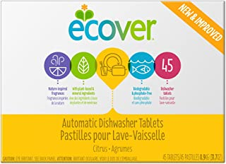 Ecover Automatic Dishwasher Soap Tablets, Citrus, 45 Count
