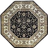Traditional Octagon Floral Oriental Persian Area Rug Black Green Burgundy & Beige Design 601 (4 Feet X 4 Feet)