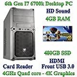 6th Gen I7 6700K Home / Desktop PC, 4GB RAM, 480GB SSD, Card Reader. Desktop / Gaming computer with intel 6th gen I7 6700K with 4GB ram and 480GB solid state hard drive. 4K Graphics with HDMI … (Personal Computers)