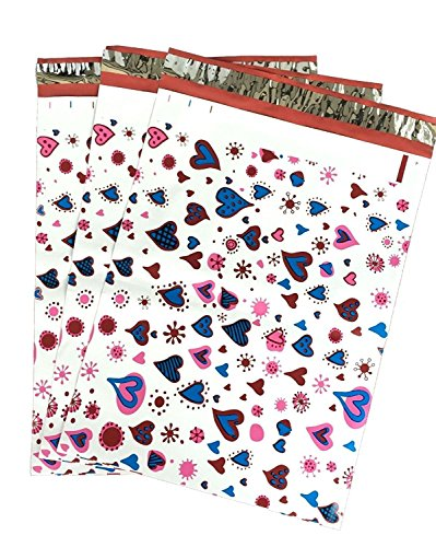 6x9 (500) Blue Pink Hearts Designer Poly Mailers Shipping Envelopes Boutique Custom Bags by ValueMailers (6' X 9')