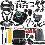 SmilePowo 48-in-1 Accessories Kit for GoPro Hero 8 Max 7 6 5 4 3 3+ 2 1 Black GoPro 2018 Session Fusion Silver White Insta360 DJI AKASO APEMAN YI Campark SJCAM XIAOMI Sony Sports DV Action Camera