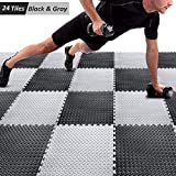 Puzzle Exercise Mat with 24 Tiles Interlocking Foam Mats, 24'' x 24'', 0.4'' Thick EVA Foam Floor Tiles, Protective Flooring Mats Interlocking for Gym Equipment and Cushion for Workouts