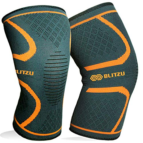 BLITZU Knee Compression Sleeve for Men & Women  Best Knee Brace Support for Running, Gym, Workout, Fitness, Weightlifting. Joint Pain Relief, Arthritis, ACL, Meniscus Tear and Injury Recovery S