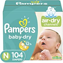 Diapers Size Newborn/Size 0 (< 10 lb), 104 Count – Pampers Baby Dry Disposable..