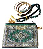 Handmade zip wallet - Oriental rug/kilim - for credit cards, keys, coins, cellphones, earphones, make up, jewels, glasses, cards, etc. … (Green)