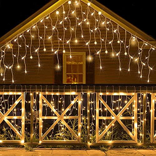 Lichtervorhang Aussen, Lichterkette Außen Innen 10M 400LED Eisregen Lichterkette Strom IP44, 8 Modi Lichtvorhang Für Zimmer, Traufe, Treppe, Geländer, Weihnachten, Party Deko