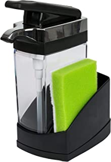 Casabella Sink Sider Solo Kitchen Soap Pump and Sponge Caddy, Black/Chrome Black &..