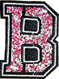 3' Tall (A-Z) Pink Crystal English Letter Character Tag Name Alphabet Rhinestone Shiny Sparkle Patch Iron on Embroidered Craft Handmade Baby Kid Girl Women Sexy Lady DIY Accessories Costume (B)