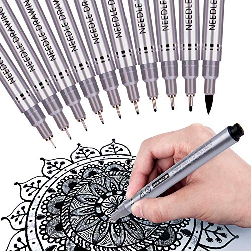 Precision Micro-Line Pens, Fineliner, Multiliner, Waterproof Archival ink, Artist Illustration, Anime, Sketching, Technical Drawing, Office Documents & Scrapbooking, Manga Pens Writing, 10/Set(Black)