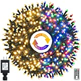 Ollny Christmas String Lights Outdoor, 262ft 640 LED Extra Long 11 Modes&Timer Remote Waterproof Plug in Fairy Twinkle Green Wire Light for Wedding/Party/Tree/Patio Indoor,Warm White Mixed Multicolor