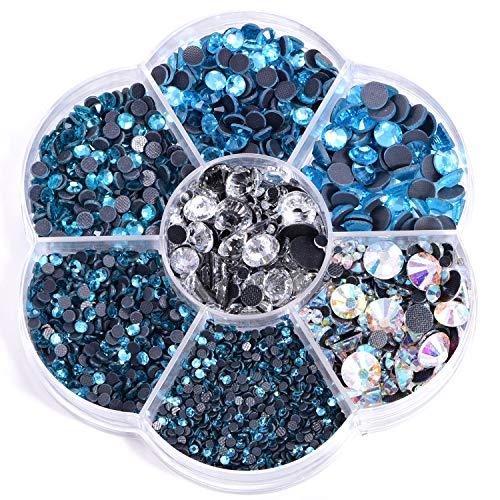 Blinginbox, 3000 pezzi di misure miste DMC Hot Fix strass di vetro rosso hotfix strass ferro su pietre per indumenti (blu capre)