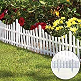 CHICIEVE 4 PCS White Plastic Garden Fence Border for Garden,Decorative Landscape Edging...