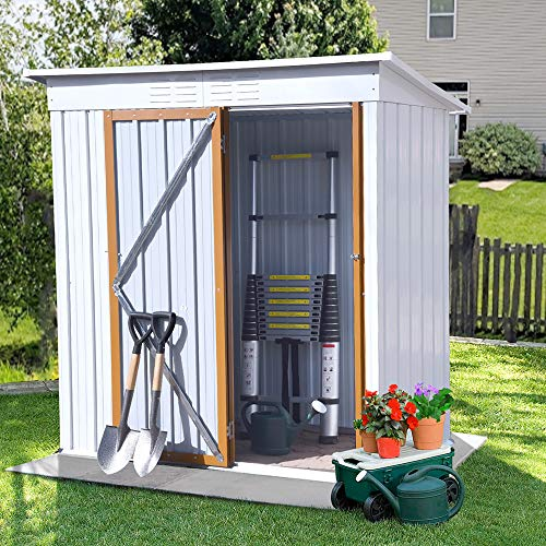 5 x 3 FT Outdoor Storage Shed, Galvanized Metal Garden Shed with...