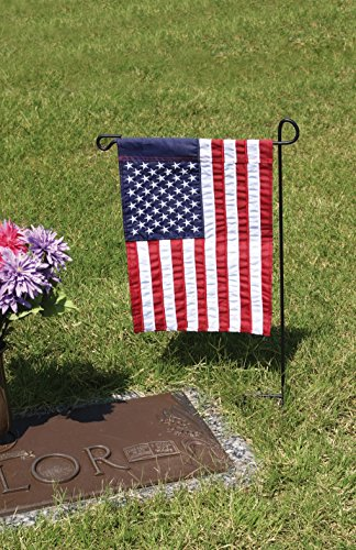 Evergreen Flag Black Iron Cemetery Garden Flag Stand - 15W x 28H