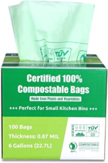 Primode 100% Compostable Bags, 6 Gallon Food Scraps Yard Waste Bags, 100 Count, Extra..