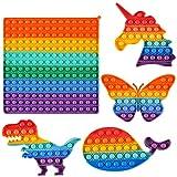 Pop it Gigante Set Popit Grande Fidget Toys Kit Gioco Antistress Giocattolo Push Pop Bubble Giocattolo Sensoriale da Spremere per Bambini Adulti (5 pezzi Arcobaleno,Unicorno,Farfalla Dinosauro,Balena)