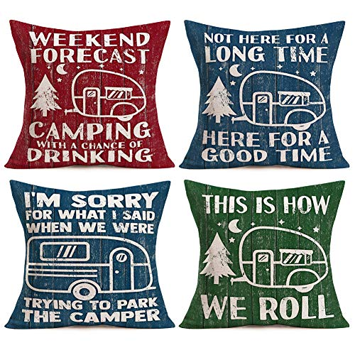 Asamour Camping Pillow Covers Cotton Linen Happy Camper Quote...