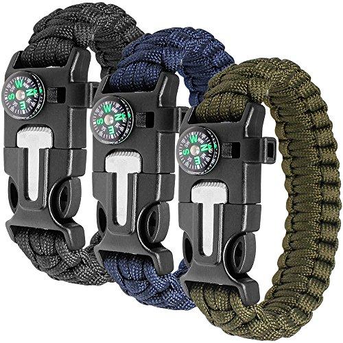 Paracord Bracelet Kit lot de 3 pour la survie en plein air, Anastasia 9...