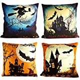 KUUQA 4Pcs Happy Halloween Linen Pillow Case Cover, Decorative Throw Pillow Cover Cushion Case with Spider/Moon/Bat for Halloween Party Favors Supplies(Pillow Inner not Included)