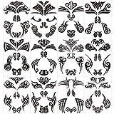 Qpout12 pcs Tatuajes temporales de cara, tatuajes de cara maorí Pegatinas...