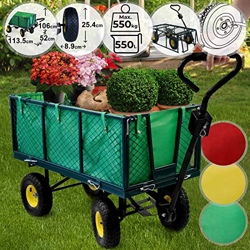 Jago Bollerwagen - bis 550 kg belastbar, Farbwahl, klappbare Seitenwände, herausnehmbare Plane, Luftreifen - Gartenwagen, Gartenkarre, Handwagen