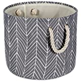 """DII CAMZ38632 Collapsible Polyester Storage Basket or Bin with Durable Cotton Handles, Home Organizer Solution for Office, Bedroom, Closet, Toys, & Laundry(Large Round– 15x16""""), Gray Herringbone"""