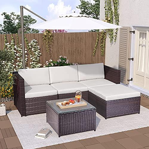 Gona Mobili da giardino in rattan, divano angolare, divano convertibile e tavolo con piano in vetro (Brown)