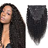 Afro Kinky Curly Clip Ins Hair Extensions 18 inch 8A Grade 4C Kinkys Curly Clip ins Human Hair Extension Natural Black Color for African American Women 10 Pieces/lot 120 Gram/Pack with 21 Clips