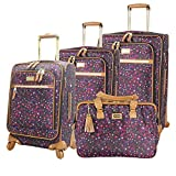 Steve Madden Designer Luggage Collection - 4 Piece Softside Expandable Lightweight Spinner Suitcases- Travel Set includes a Tote Bag, 20-Inch Carry on, 24 & 28 Inch Checked Suitcases (Purple Print)
