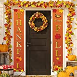Chuangdi Happy Fall Thankful Banner Fall Thanksgiving Porch Sign Autumn Vintage Harvest Welcome Hanging Banner with Pumpkin Maple Leaves Patterns for Indoor and Outdoor Party Decorations