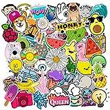 LANYU Summe Fresh Windstickers Pack para en el portátil, Nevera, teléfono, monopatín, Maleta de Viaje, Equipaje, Bonita Pegatina de Planta de Fruta, 50 Uds.