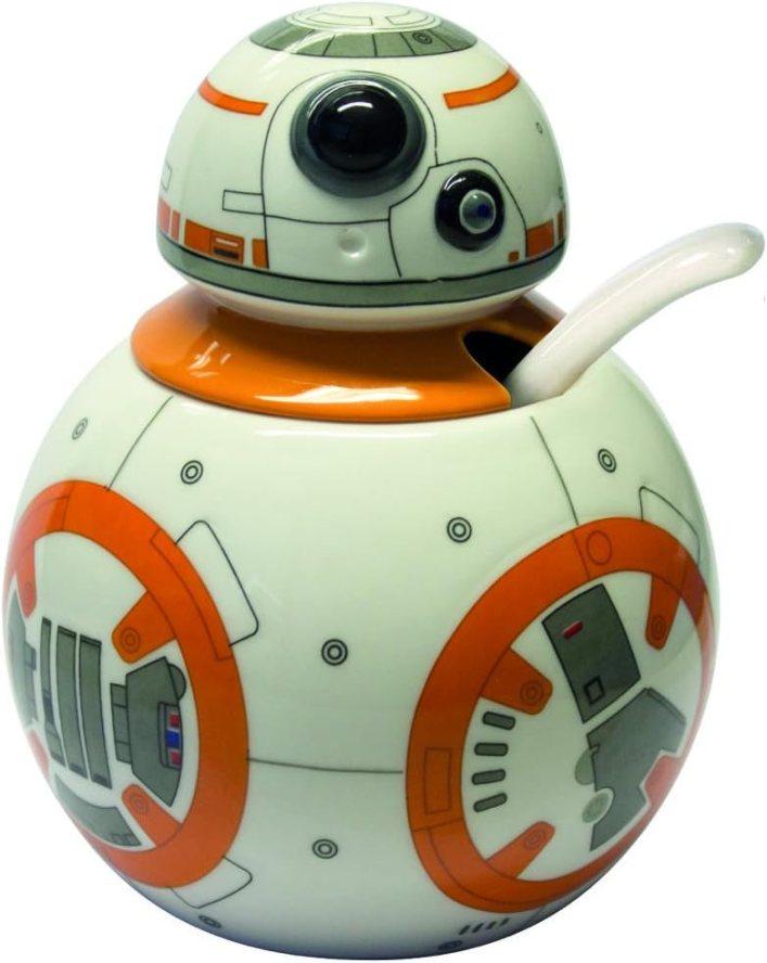 Joytoy Star Wars-BB - Azucarero con cuchara de cerámica, 8 x 12 x 16 cm, color blanco y naranja