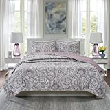 Comfort Spaces Paisley Design, Double Sided Quilting All Season, Lightweight, Coverlet Bedspread Bedding Set, Matching Shams, Full/Queen(90'x90'), Kashmir Purple