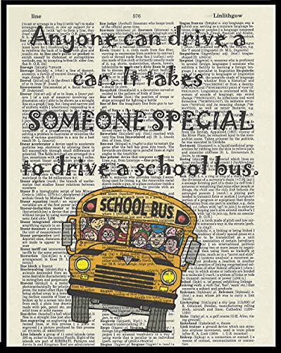 School Bus Driver Quote Dictionary Book Page Artwork Print...