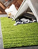 Unique Loom Solo Solid Shag Collection Modern Plush Grass Green Area Rug (4' 0 x 6' 0)