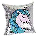 leegleri Unicorn Sequins Throw Pillow Cover,Unicorn Birthday Gift for Girls,Magic Reversible Pillow Case for Room,Bedding and Couch Bedroom Decor(Only 16' X 16' Pillow Cover)