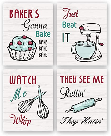 Amazon Com Kairne Funny Kitchen Wall Art Print Watch Me Whip Quote Canvas Painting Set Of 4 8 10 Unframed Colorful Kitchen Signs Canvas Poster Baking Room Restaurant Decor Home Kitchen
