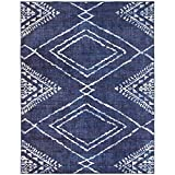 ReaLife Machine Washable Rug - Stain Resistant, Non-Shed - Eco-Friendly, Non-Slip, Family & Pet Friendly - Made from Premium Recycled Fibers - Moroccan Diamond - Blue, 5' x 7'