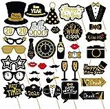 Losuya 2020 Nouvel an Parti Photo Booth Props 36pcs DIY Kit Masques Chapeau De Moustache pour 2020 Nouvel an Décoration de Partie