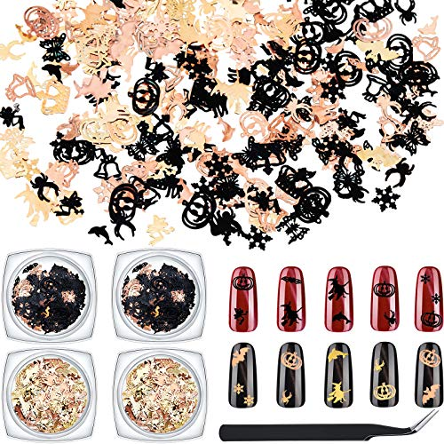 4 Boxes 480 Pieces Christmas Nail Art Sequins Halloween Glitters Gold Black Metal Decorations Snowflake Jingle Bell Pumpkin Witch Spider 3D Manicure Sequins with Tweezers for Nail Art Decoration