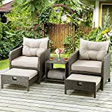 PAMAPIC 5 Pieces Wicker Patio Furniture Set Outdoor Patio Chairs with Ottomans(Gray)