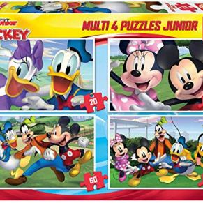 Educa Borrás-Multi 4 Puzzles Junior de 20, 40, 60 y 80 piezas, Mickey y sus amigos, a partir de los 5 años (18627…
