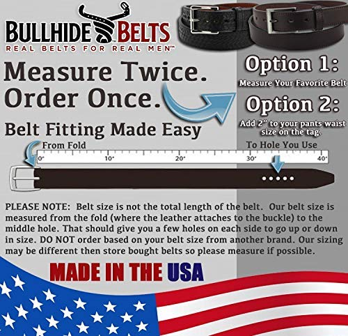 Bullhide Belts Mens Leather Casual & Dress Belt, USA Made
