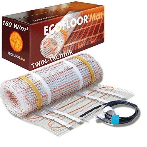 ECOFLOOR® Fußbodenheizung elektrisch 160 Watt/m² Größe wählbar 1- 12m² Fußboden-Heizmatte Twin (1.5 m² = 3m Länge)