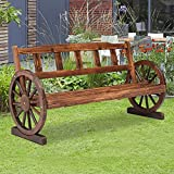 Rustic Outdoor Bench, Wooden Wagon Wheel Bench, 2 Person Outdoor Bench with Backrest for Front Porch Patio Outdoors