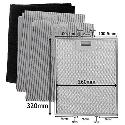 Filtri metallici SPARES2GO Mesh, carbone + grasso per cappa aspirante/aspiratore (320 x 260 mm,...