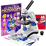AmScope 40X-1000X Beginners Microscope Kit for Kids & Students w/ Complete Science Accessory Kit + World of the Microscope Book