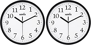 HIPPIH Black Wall Clock Silent Non Ticking Quality Quartz, 10 Inch Round Easy to Read for..