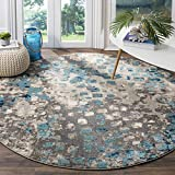 Safavieh Monaco Collection MNC225E Modern Boho Abstract Watercolor Area Rug, 3' x 3' Round, Grey/Light Blue