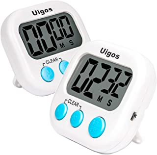 Uigos 2 Pack Digital Kitchen Timer II 2.0, Big Digits, Loud Alarm, Magnetic Backing,..